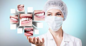Young dentist doctor presents collage of healthy beautiful smiles. Over blue background stock photos