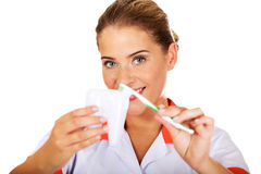 Young dentist woman with toothbrush and tooth model Stock Photography