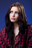 Young depressed girl in red shirt look with sad Royalty Free Stock Photos