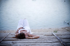 Young depressed woman Royalty Free Stock Photos