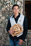 Young Deputy Sheriff. Mixed race male, holding his cowboy hat Stock Photography