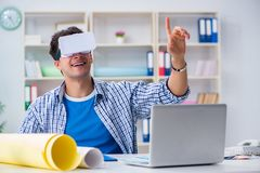 The young designer with virtual reality vr glasses Royalty Free Stock Photo