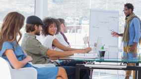 Young designers listening at meeting Royalty Free Stock Photography