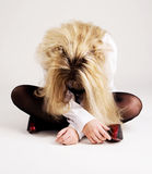 Young despaired woman sit on the floor Royalty Free Stock Images