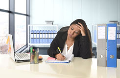 Young desperate business woman suffering stress working at office computer desk. Young beautiful latin business woman suffering stress working at modern office Stock Photography