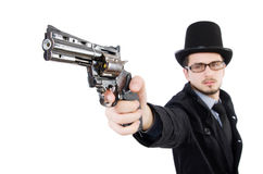 The young detective in black coat holding handgun Royalty Free Stock Image