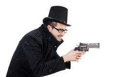 The young detective in black coat holding handgun Royalty Free Stock Photo