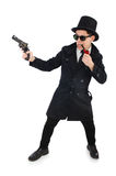 Young detective in black coat holding handgun Royalty Free Stock Photo