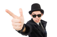 The young detective in black coat isolated on Royalty Free Stock Photos