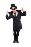 The young detective in black coat isolated on Stock Photos