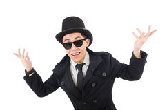 The young detective in black coat  Royalty Free Stock Photos