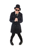 The young detective in black coat  Stock Photos