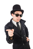 The young detective in black coat. Young detective in black coat isolated on white Royalty Free Stock Images