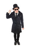 The young detective in black coat. Young detective in black coat isolated on white Stock Photos