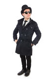 The young detective in black coat isolated on white Stock Image