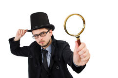 The young detective with magnifying glass isolated Royalty Free Stock Photos