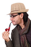 Young detective with pipe isolated on white. Young detective with pipe on white royalty free stock images