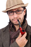 Young detective with pipe isolated on white Stock Image
