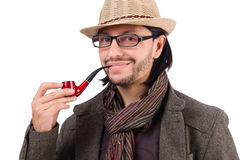 Young detective with pipe isolated on white. Young detective with pipe on white royalty free stock photography