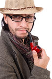 Young detective with pipe isolated on white. Young detective with pipe on white stock photos