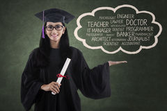 Young diploma showing her aspiration Royalty Free Stock Images