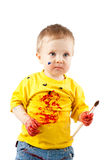 Young dirty artist child with brush. Young artist child with brush over white background Stock Images