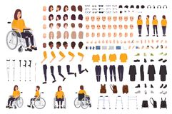 Young disabled woman in wheelchair constructor or DIY kit. Set of body parts, facial expressions, crutches, walking. Frame. Female cartoon character. Front stock illustration