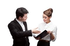 Young discussing smiling business people Royalty Free Stock Photos