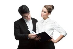 Young discussing smiling business people Stock Image