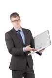 Young dissatisfied man is pointing to a file Royalty Free Stock Photography