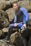 Young diver in the seaside Stock Photography