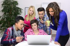 Young diverse team of students or employees Royalty Free Stock Photo