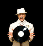 Young DJ In White Costume Holding Vinyl Record In Royalty Free Stock Photography