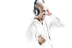 Young dj listening to music with headphones on Stock Photography
