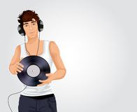 Young dj man with headphones Stock Photos