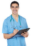 Young doctor. A young doctor a over white background Stock Image