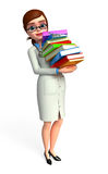 Young Doctor with books pile Royalty Free Stock Photo