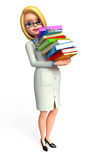 Young Doctor with books pile Stock Photo
