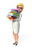Young doctor with books pile Royalty Free Stock Images