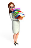 Young doctor with books pile Royalty Free Stock Image