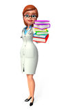 Young Doctor with books pile Stock Image