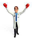 Young Doctor with boxing gloves Stock Images