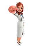 Young Doctor with brain anatomy Royalty Free Stock Photos