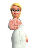 Young Doctor with brain anatomy Stock Photography
