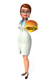 Young Doctor with burger Stock Images