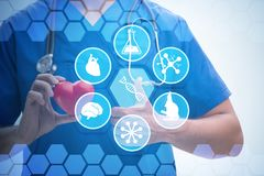 The young doctor cardiologist in telehealth concept. Young doctor cardiologist in telehealth concept stock photo