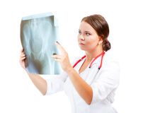 Young doctor examining an x-ray image Royalty Free Stock Photography