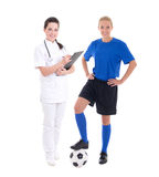 Young doctor and female soccer player on white background Stock Photos
