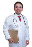 Young doctor with file of a patient laughing at camera Royalty Free Stock Image