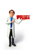 Young Doctor with free sign Stock Photo